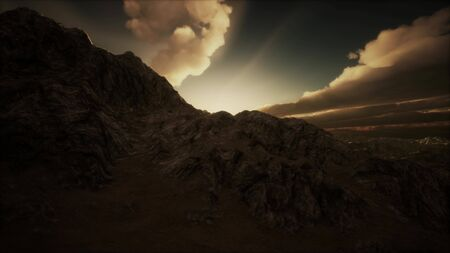 mountain landscape in high altitude with rays of light Stockfoto