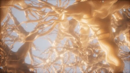 Journey through a neuron cell network inside the brain Stok Fotoğraf