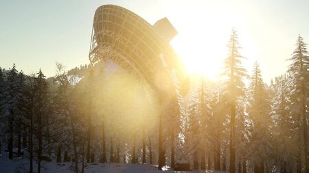 The observatory radio telescope in forest at sunset Stok Fotoğraf