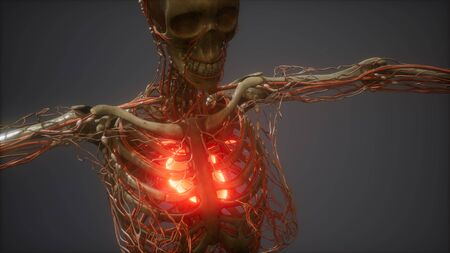 CG Animation Of A Sick Human Heart Stock fotó