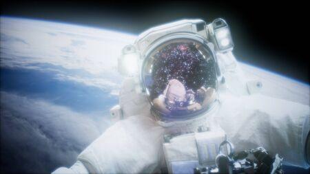 Astronaut at spacewalk. Stockfoto