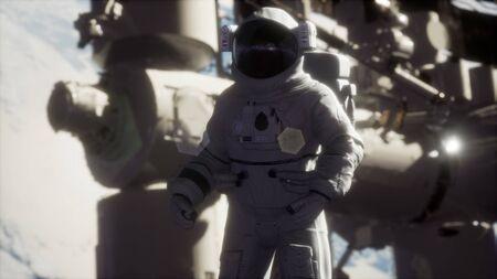 8K Astronaut outside the International Space Station on a spacewalk. Archivio Fotografico