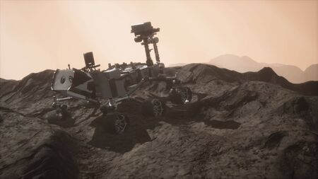 Curiosity Mars Rover exploring the surface of red planet.