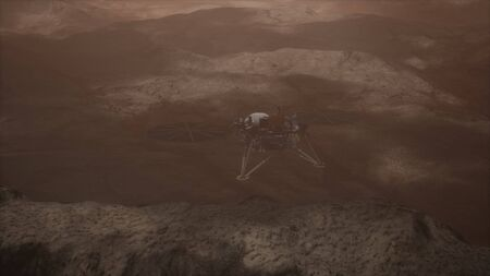 Insight Mars exploring the surface of red planet. Reklamní fotografie