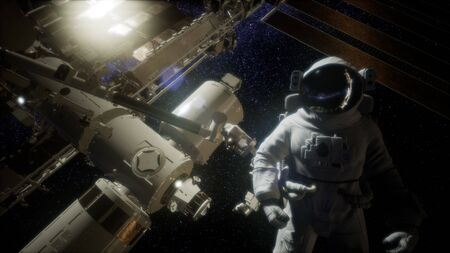 Astronaut outside the International Space Station on a spacewalk.