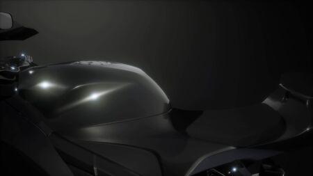 moto sport bike in dark studio with bright lights Stock Photo