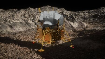 lunar landing mission on the Moon. Elements of this image furnished by NASA Foto de archivo