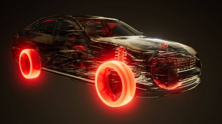 car wheels glowing visible in transparent car