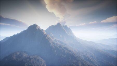 Vulkankraterlandschaft mit Nebel