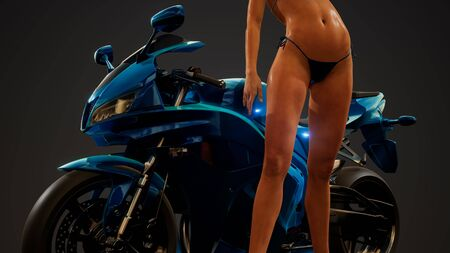 Young woman posing with motorbike