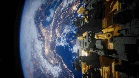 spaceship with view on space and planet Earth 3D rendering elements Stock fotó