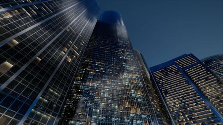 cty skyscrapers at night with dark sky Imagens