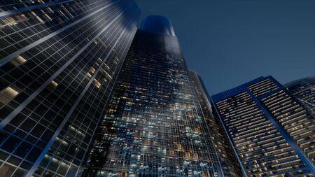 cty wolkenkrabbers 's nachts met donkere lucht Stockfoto