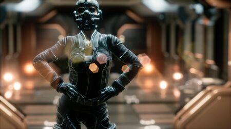 Mujer Steampunk en nave espacial futurista