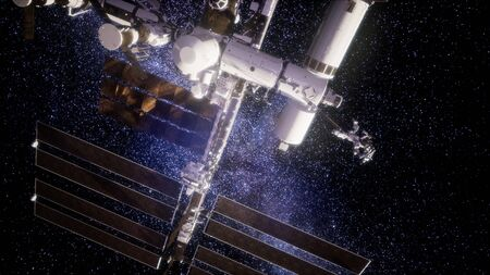 International Space Station in outer space. Archivio Fotografico