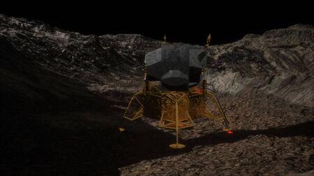 lunar landing mission on the Moon. Banco de Imagens