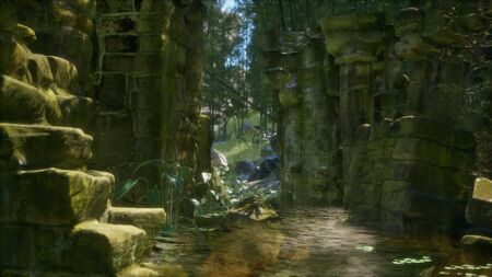 Stone ruins in a forest, abandoned ancient castle Banco de Imagens