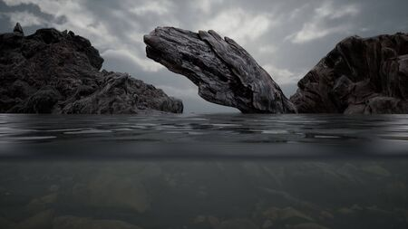 Halb unter Wasser im Nordmeer mit Felsen
