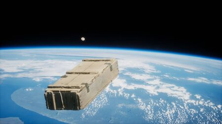 old wood box on Earth orbit.