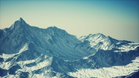Aerial view of the Alps mountains in snow Stock fotó