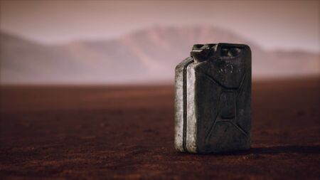 old rusty fuel canister in the desert