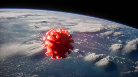 Coronavirus COVID-19 on the Earth orbit. elements furnished by Nasa