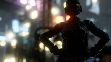 Futuristic cyberpunk style young woman with neon bokeh lights