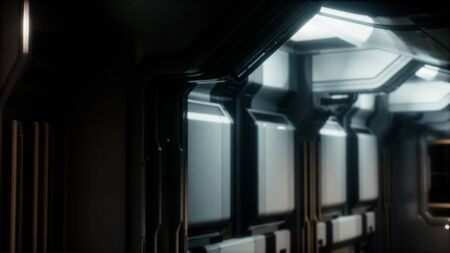Sci-fi tunnel or spaceship corridor