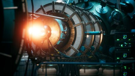 futuristic cyberpunk power plant thermonuclear or nuclear reactor Imagens