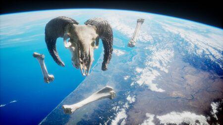 rams skull with bones at Earth orbit.