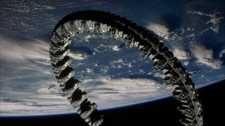futuristic space station on Earth orbit.