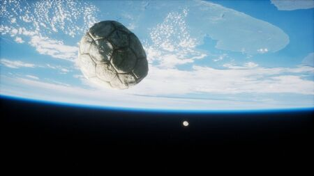 old soccer ball in space on Earth orbit. elements furnished by Nasa