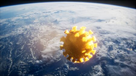 Coronavirus COVID-19 asteroid near Earth.