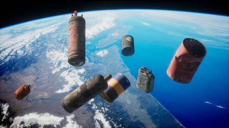 Space debris, pollution of the atmosphere of the planet Earth and space by human waste. Stockfoto