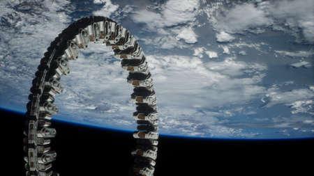 futuristic space station on Earth orbit.
