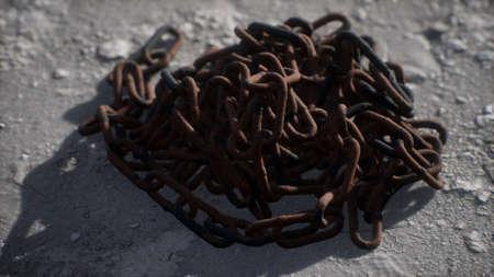 Vintage rusty hand-made iron chain Foto de archivo