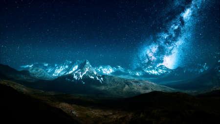 Milky Way over the mountain peaks Foto de archivo