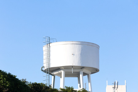 waterworks: High water tank of urban waterworks in Thailand. Stock Photo
