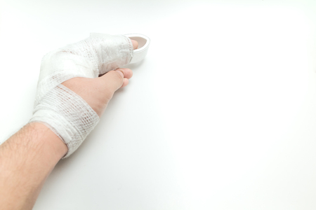 dislocated finger on white background