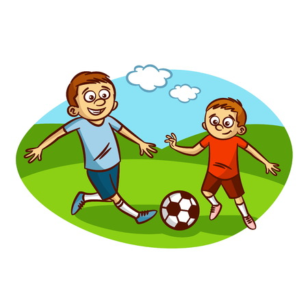 couple having fun: Dad and son playing football.