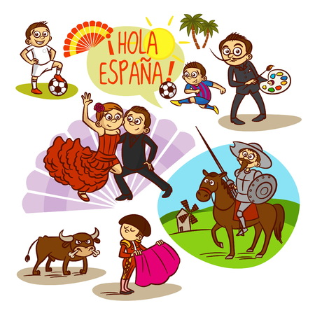 corrida: Spain. Flamenco. Corrida Football Travelling illustration Illustration