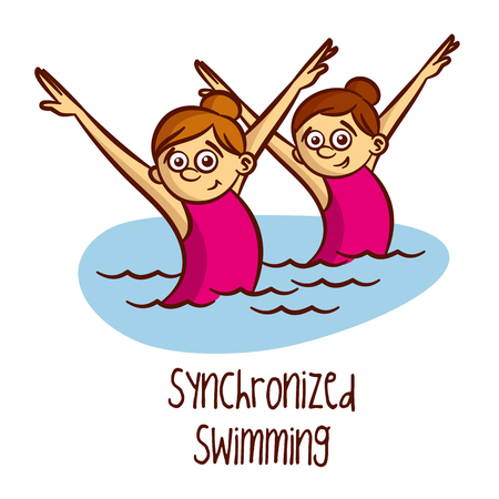 synchronized: Summer Olympic Sports. Synchronized Swimming Vector