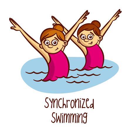 Summer Sports. Synchroonzwemmen Vector Stock Illustratie