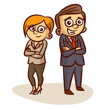 businesswoman standing: Businessman And Businesswoman Standing Clipart Illustration