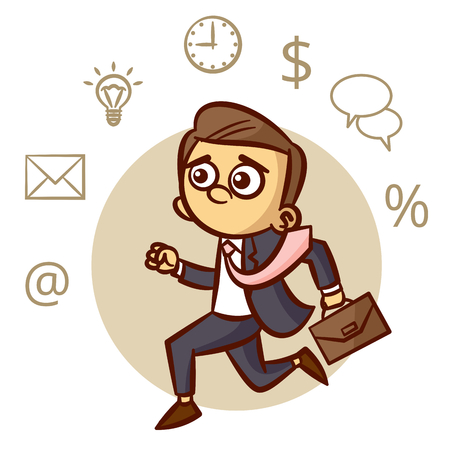 Businessman Running With Briefcase Clipart