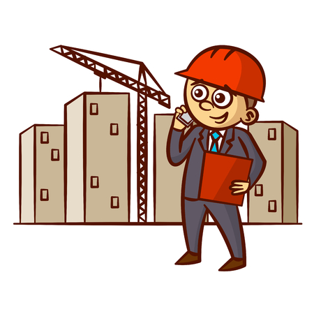 Businessman Talking On The Phone at the Construction Site Clipart