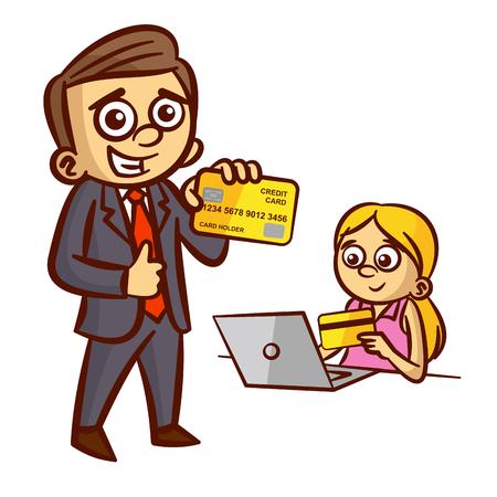 Businessman Woman Credit Card Clipart