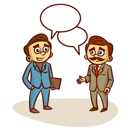 talking: Two Businessmen Talking About Business Clipart