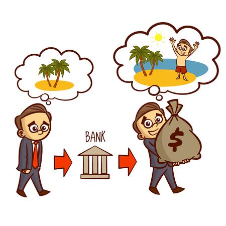 Sueños del hombre sobre hombre de negocios de vacaciones consigue un préstamo del Banco de Clipart