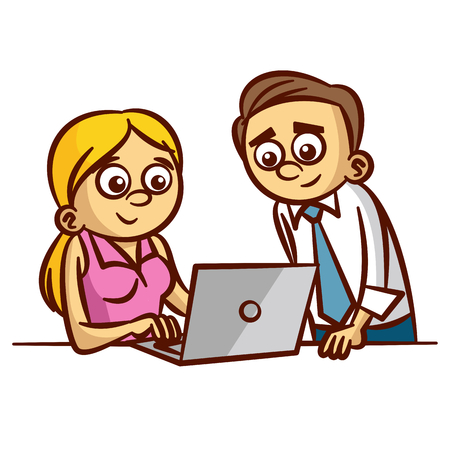 computer clipart: Office Workers Working on Computer Clipart